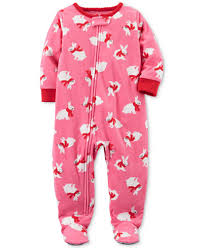 s 1 pc bunny print footed fleece pajamas baby