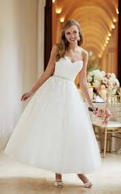 puffy tulle lace strapless sweetheart tea length ball gown wedding