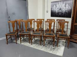 antiques by design t back quartered oak dining chairs set of