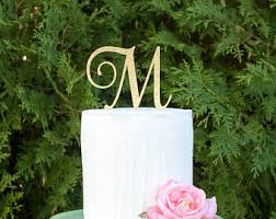 monogram wedding cake toppers wedding cake toppers etsy