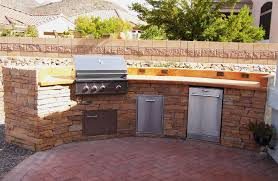 14ft custom outdoor kitchen colored concrete countertop with rock