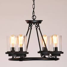 Wrought Iron Pendant Light This Industrial Clear Glass Shade Wrought Iron Chandelier Pendant