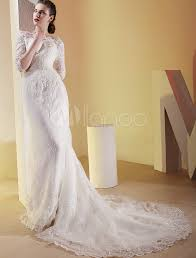 luxury wedding dresses white satin three quarter sleeves floor length luxury wedding