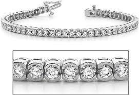 bracelet diamond gold tennis white images 18k white gold half bezel set diamond tennis bracelet 5 10ct tw png
