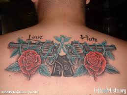 gun tattoo u2013 love guns n roses on upper back tattooshunter com