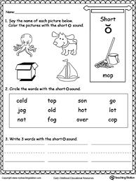 short o sound worksheet short o short vowels and printable