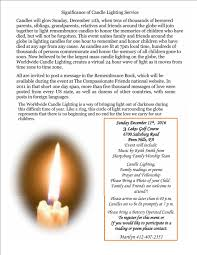 world wide candle lighting service for bereaved parents u2013 3 lakes