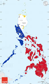 Single Flag Flag Simple Map Of Philippines Single Color Outside Flag Aligned