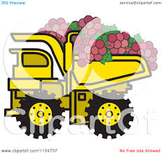 clipart yellow dump truck hauling red grapes royalty free vector