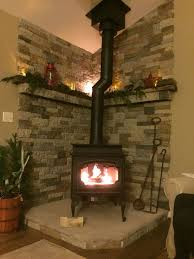 project completed my lopi endeavor woodstove hearth mantel stone by me