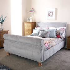 White Wooden Sleigh Bed Bedroom Sled Bed Frame Upholstered Sleigh Bed Upholstered