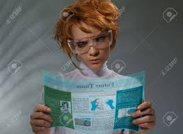 professional makeup and hair stylist beautiful woman reading newspaper from hi tech display