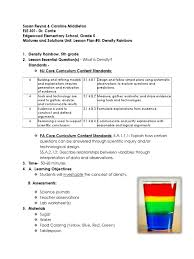 density rainbow lesson plan solution science