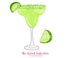 preppy margarita and lime wedge clip art original art