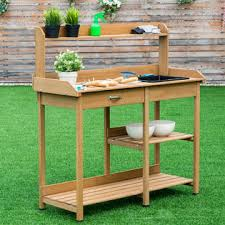 goplus potting table bench outdoor indoor work station garden
