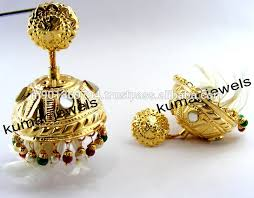 lotan earrings golden lotan jhumka buy lotan earrings designer jhumka
