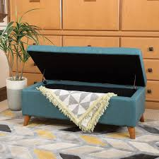 amazon com etoney mid century modern fabric storage ottoman teal