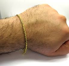 3mm diamond yellow gold solid diamond cut rope bracelet 8 50 inch 3mm
