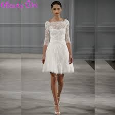 Knee Length Wedding Dresses Charming A Line Ivory Lace Short Wedding Dresses Backless Knee