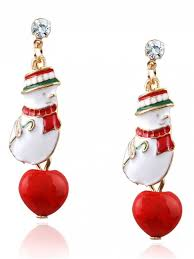 images of christmas earrings rhinestone snowman christmas earrings red earrings zaful