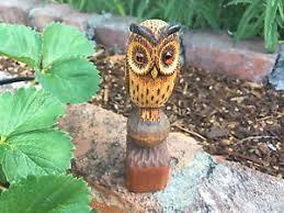 vintage carved wooden owl sculpture statue figurine