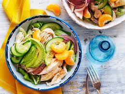 avocado and mandarin chicken noodle salad recipe food to love