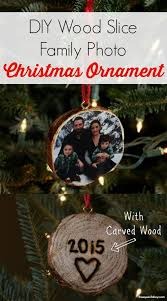diy wood slice family photo ornament so cool to