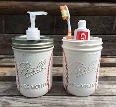 Sports Bathroom Accessories by Hand Painted Baseball Soap Dispenser Baseball Bathroom Set