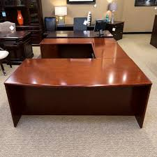 U Shaped Office Desk Used Left U Shaped Executive Office Desk Cherry Deu1531 004