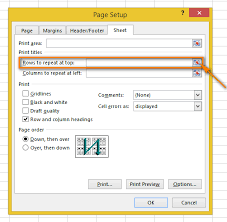 repeat a header row column headers on every printed page in