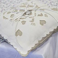 wedding pillow rings birds linen and laser cut ring bearer wedding pillow