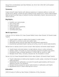 Grade Your Resume Professional Seventh Grade Teacher Templates To Showcase Your
