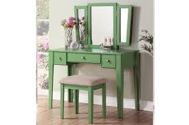 Pine Vanity Table Poundex F4108 3 Pc Apple Green Vanity Set With Stool Mirror 3 Drawer