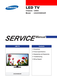 manual de serviço do televisor marca samsung modelo ua23h4003r