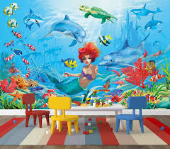 amazon com mermaid underwater wall paper underwater world fish amazon com mermaid underwater wall paper underwater world fish dolphin mural xxl seaworld wall decoration girls room 82 7 inch x 55 inch home