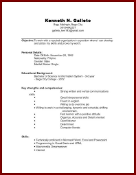 Simple Resume For College Student How To Make A Resume With No Work Experience Example No Work
