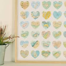 Map Wrapping Paper Map Hearts Print Luxury Gift Wrapping Paper By Bombus
