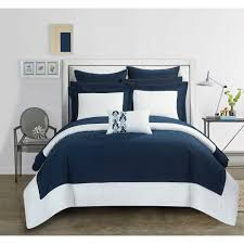 Bed In A Bag Duvet Cover Sets by Chic Home Navy Color Block Microfiber 10 Piece Bed In A Bag With