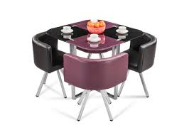 Glass Tables And Chairs Neon Glass Stowaway Dining Set From Durian Is A Compact Setup
