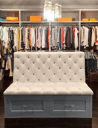 white tufted closet bench with gray storage drawers contemporary