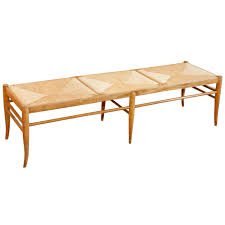 italian wood and rush seat bench woods and modern