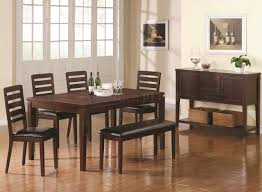 the room style 7 piece cherry finish solid wood dining table set elegant image of dining room decoration using solid cherry wood black leather dining bench including rectangular