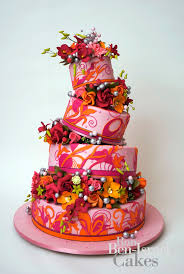cake inspiration ron ben isreal wedding cakes pink orange funky floral
