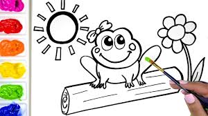 coloring a cute frog coloring book drawing a frog and a
