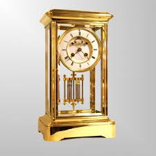 Mantle Piece Clock A French Four Glass Gilded Mantel Clock With Visible Dead Beat