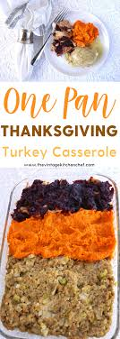 easy one pan thanksgiving turkey casserole is great for a family