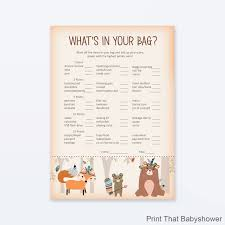 what s in the bag baby shower baby shower what s in your purse woodland baby