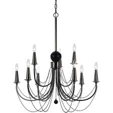 9 Bulb Chandelier Af Lighting Shelby 9 Light Black Nickel Candle Base Chandelier