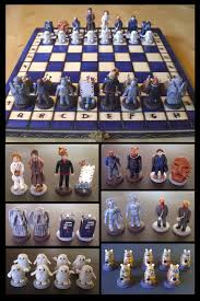 an amazing doctor who themed chess set via geek crafts bow