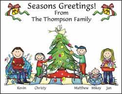 personalized family stick figure cards and chanukah